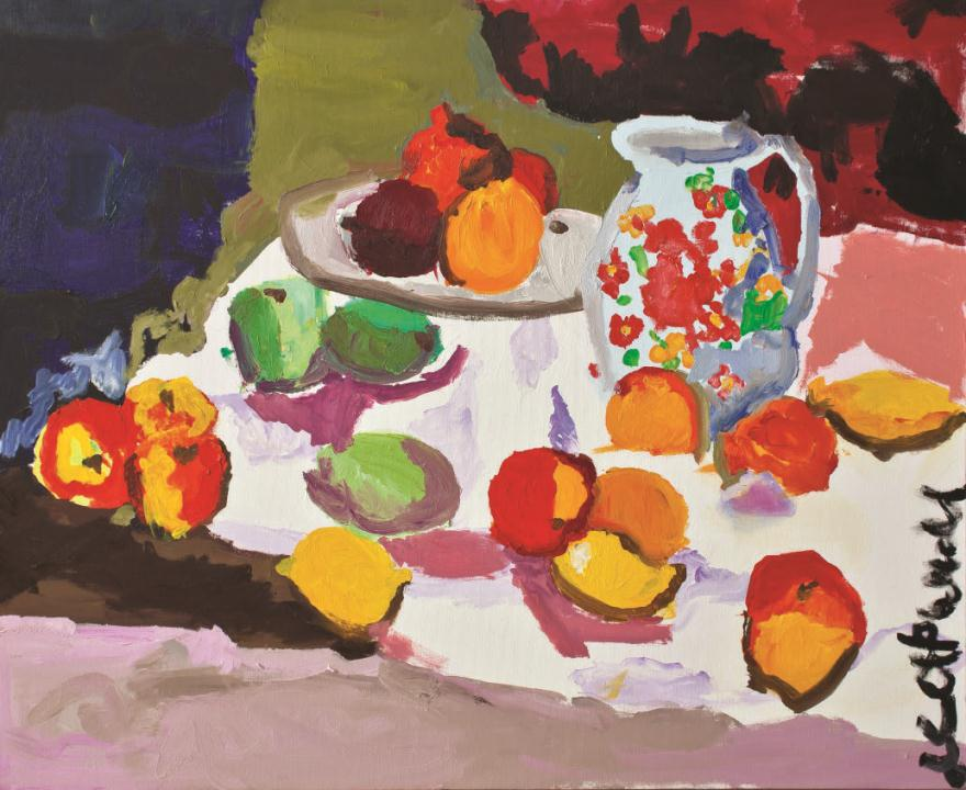 Still life with fruits and white jug
