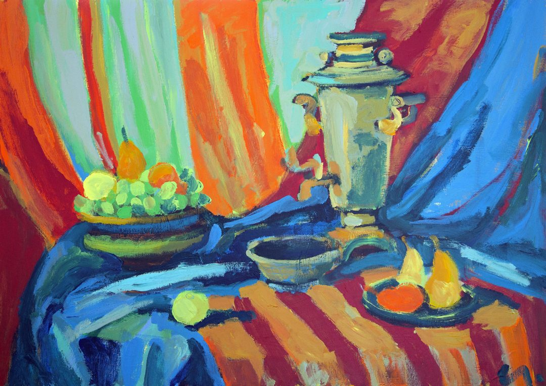 Nature morte, samovar et fruits