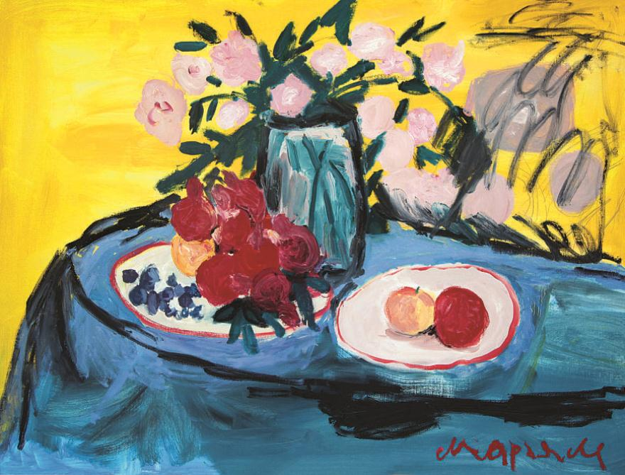 Still life on blue tablecloth